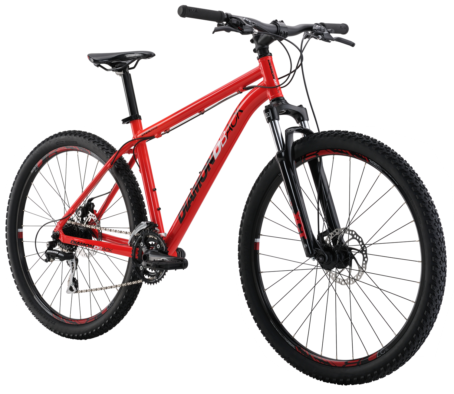 Mountain Bikes 16 Overdrive Red angle
